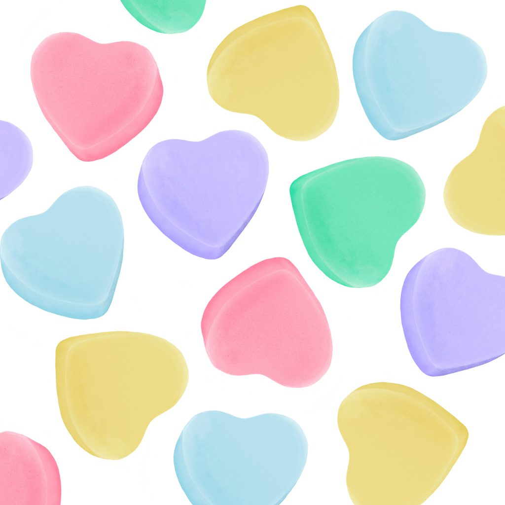 candy hearts pattern