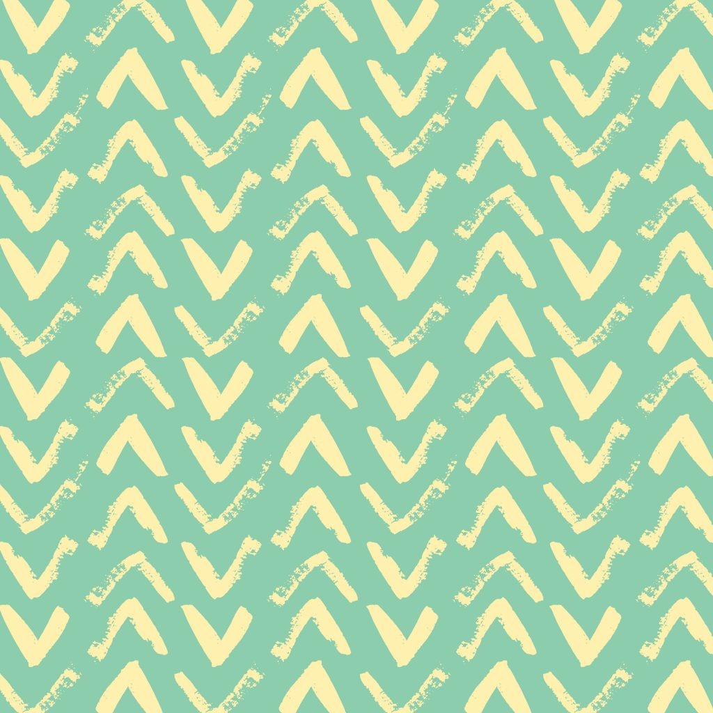 Green and yellow hand-painted chevron pattern